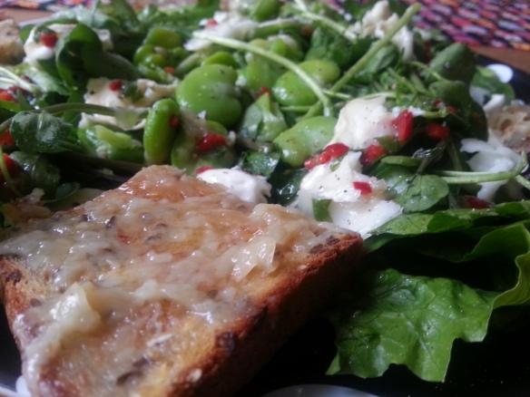 Broad bean and goats cheese salad