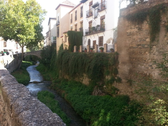 Leaving the maze of the Albaicín to meet the Río Darro in Granada. So perfect.