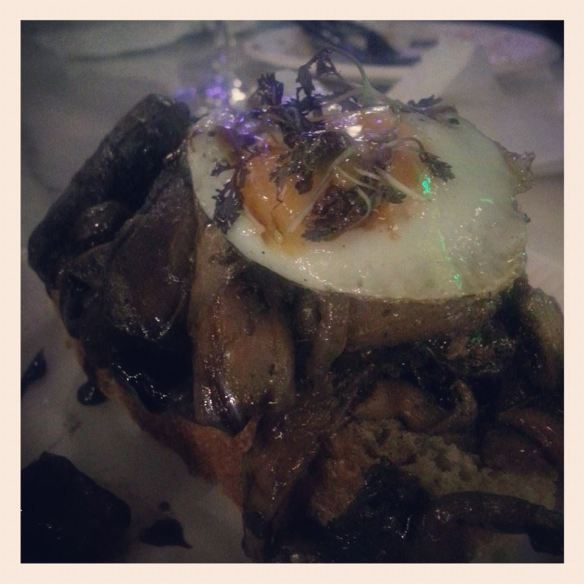 Truffled Wild Mushrooms and Quail Egg from Donostia Social Club at Trinity Kitchen