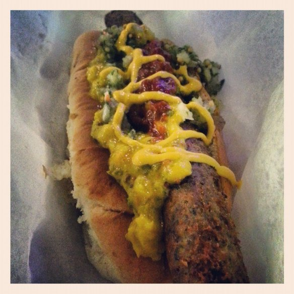 'Meat is Moyder' vegetarian hotdog from Dogtown at Trinity Kitchen