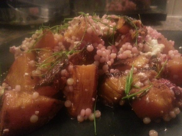 Giant couscous, butternut and walnut made using Wharfe Valley Farm Extra Virgin Rapeseed Oil