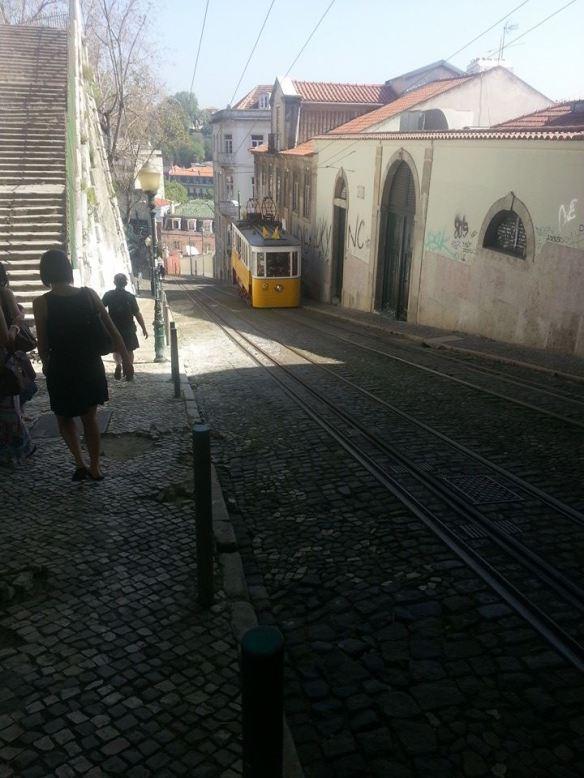 A tram on Calçada da Glória, Lisbon