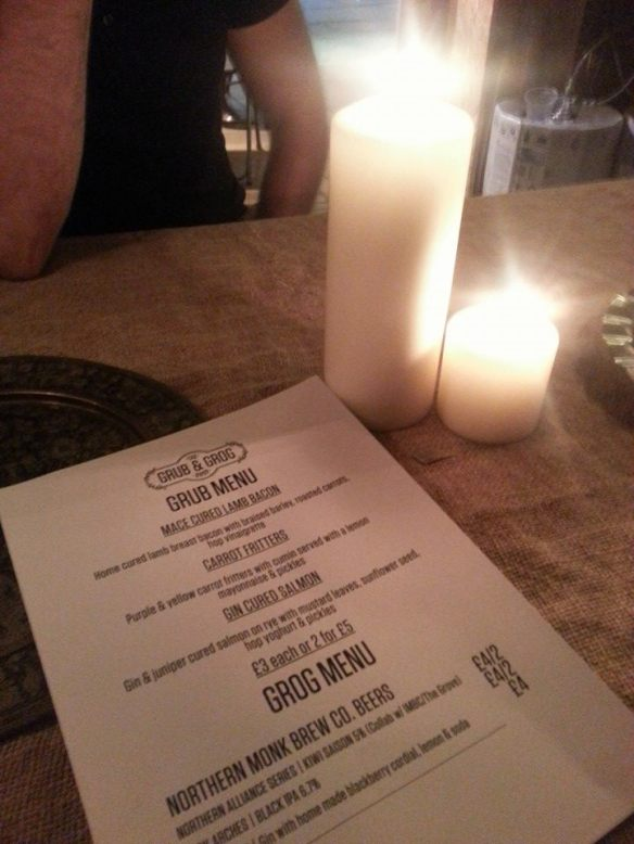 Grub and Grog Shop Menu, Cornucopia Underground